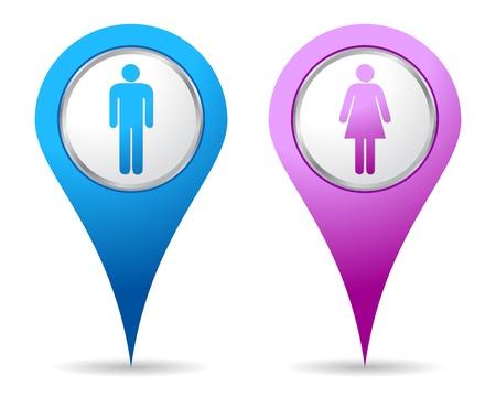 icono de ubicación azul y Rosa mujer hombres Ilustración de vector