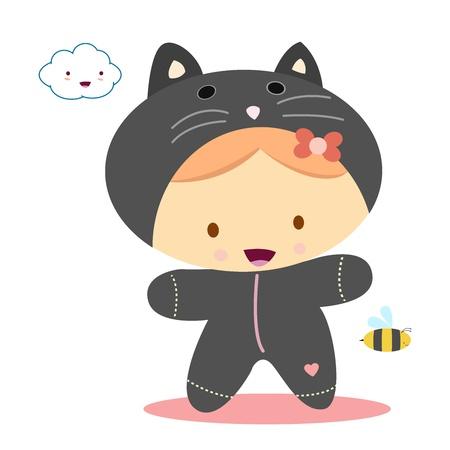 girl with cat costume, kawaii style