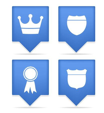 set of four badges blue icons Stock Vector - 10424671