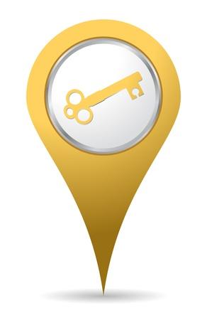 yellow location key icon Stock Vector - 10424672