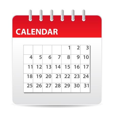 calendario da tavolo: icona del calendario rosso con giorni del mese Vettoriali