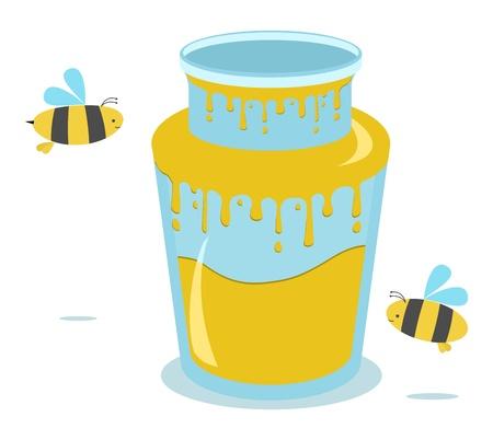 honey jar with two bees Stock Vector - 10424681