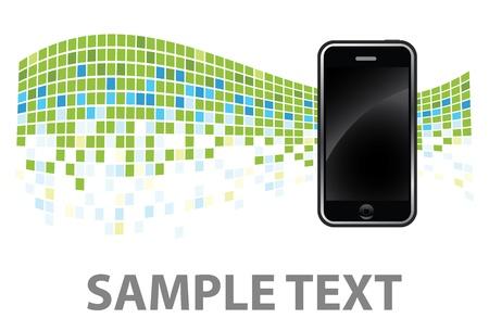 휴대 전화와 함께 녹색 배경 에디토리얼
