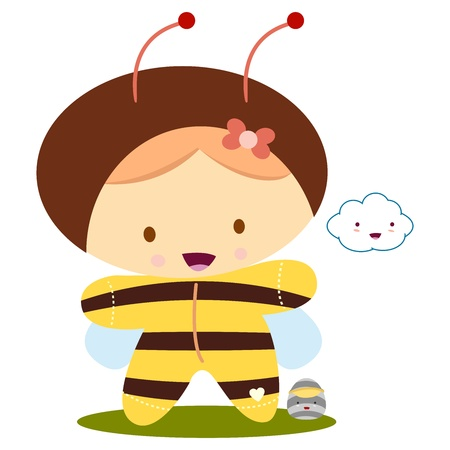 baby girl with bee kawaii costume Vector
