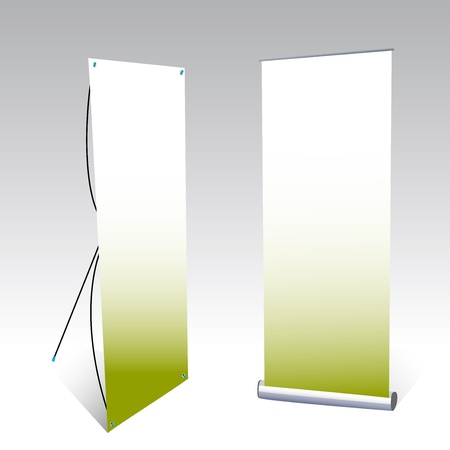 banner stand: two banner displays, with green background