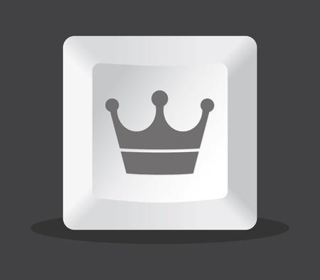 crown key computer, grey tones Vector