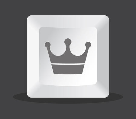 crown key computer, grey tones Vector