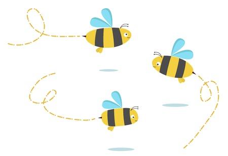 set van drie kleuren bijen