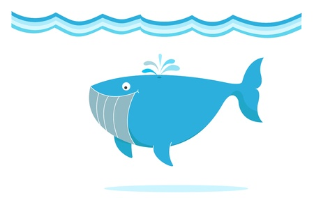 underwater fishes: blue big whale under the sea illustration
