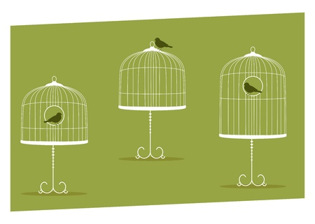 set of three vintage stands cages Stock Vector - 10653552