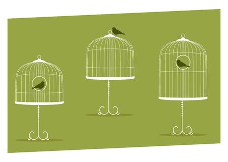 forbidden love: set of three vintage stands cages Illustration