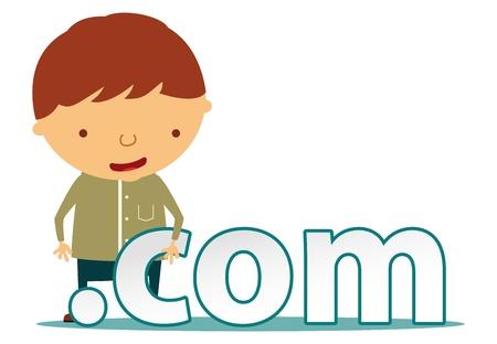 dot com: men character with dot com sign