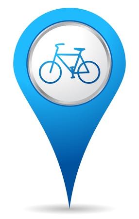 andando en bicicleta: icono de ubicaci�n de la bicicleta azul Vectores