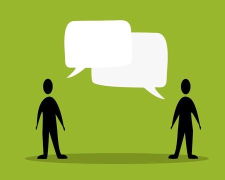 speak bubble: talk people concept in green background