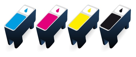 inkjet: CMYK ink cartridges in perspective Illustration