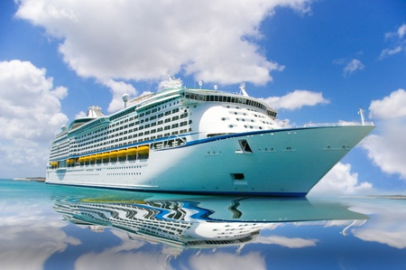 a big ship: cruise ship in a caribbean sea Stock Photo