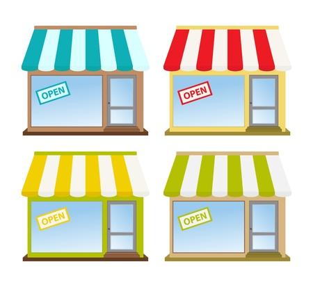 store window: vier kleuren winkel fronten