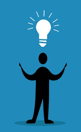 idea concept, men with bulb Vector