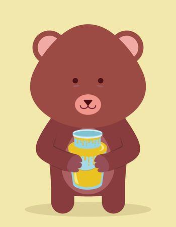 cute beard holding honey Vector