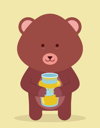 cute beard holding honey Vector