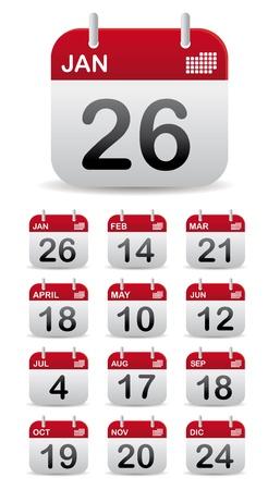 conjunto del calendario de 12 de pie Ilustración de vector