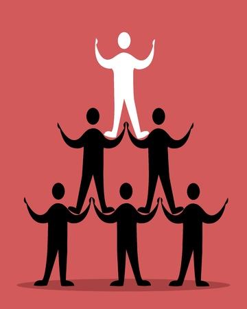 piramide humana: pirámide concepto de éxito en rojo