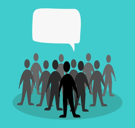 crowd speak concept in green background Vector
