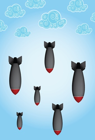 falling bombs with blue sky Stock Illustratie