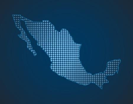 ブルーの色でメキシコ ドット マップ  イラスト・ベクター素材