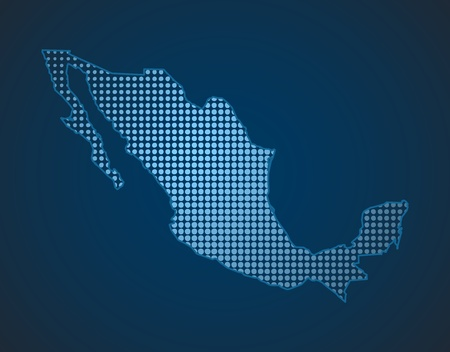 mexico dot map in blue color Vector