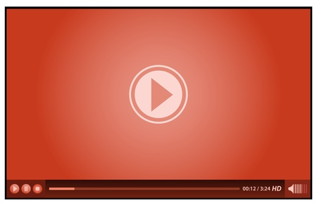windows media video: rojo reproductor de v�deo para los medios de comunicaci�n