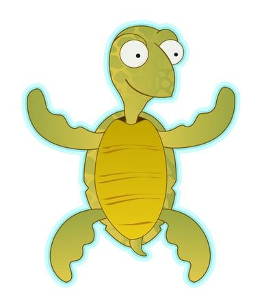 smile cartoon of water turtle Vector