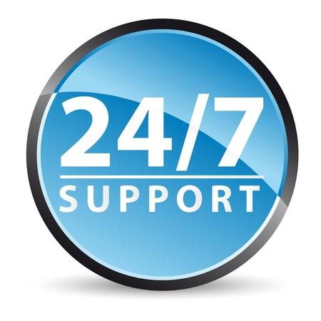 horas: apoyo icon 24  7 durante todo el tiempo de servicio Vectores