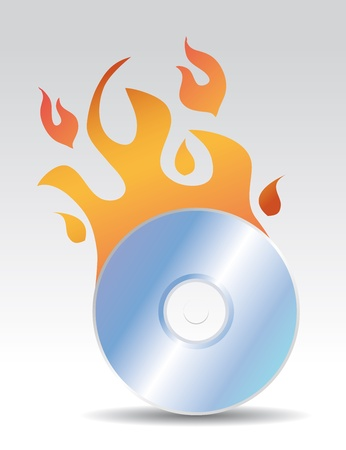 compact disk: cd burning illustration with flames Illustration