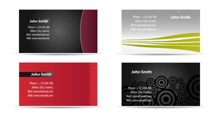 set of four business cards