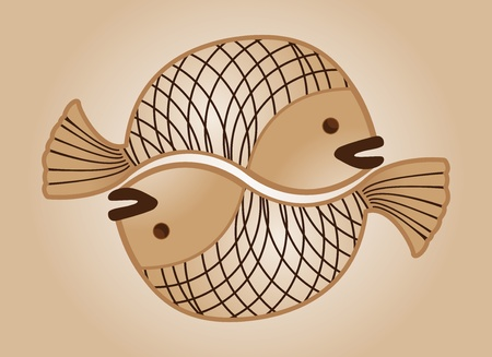 sepia draw of love fishes Stock Vector - 11354901