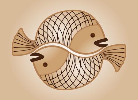 Tirage sépia de poissons d'amour Banque d'images - 11354901