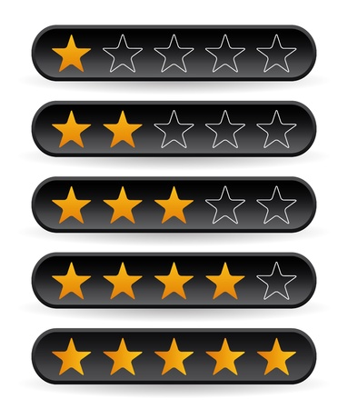 five stars: set of black rating stars