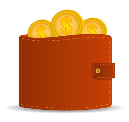 geld: geld portemonnee icoon met munten Stock Illustratie