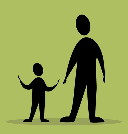 father and son in green background Vector