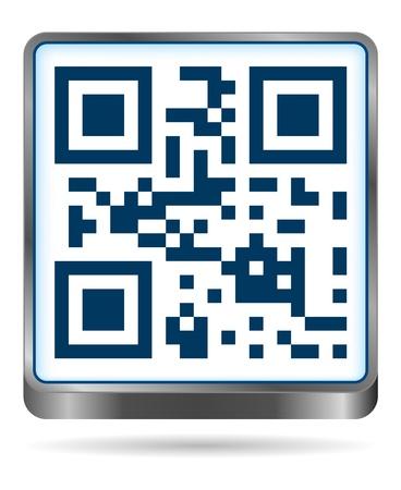 bar code reader: Icono de C�digo QR en colores azul Vectores
