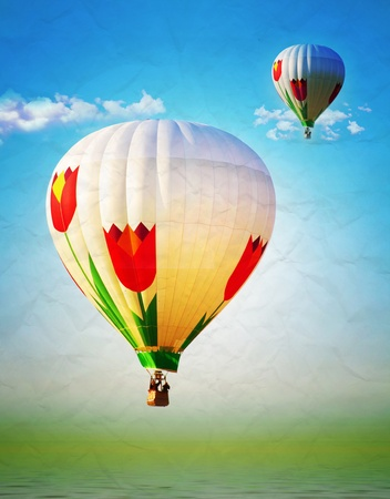 Hot air ballon paper texture, vintage photo