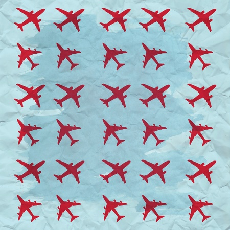 vintage airplane texture in red and blue colors photo