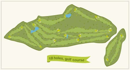 golf course, 18 holes with flags Vector