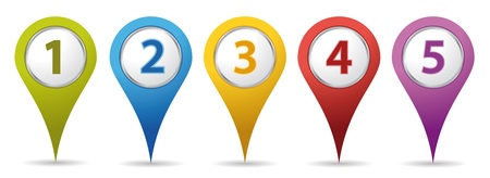 red pushpin: color location number pins Illustration