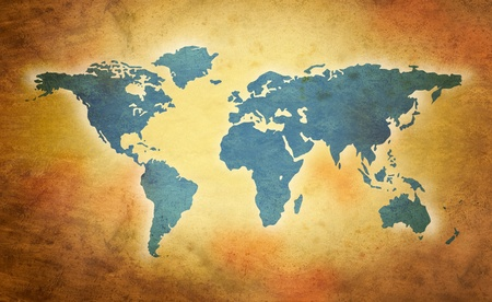 world grunge map in sepia tones photo