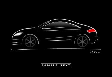 silhouet van zwarte sportwagen schets Vector Illustratie