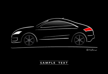 silhouette of black sport car sketch Vector