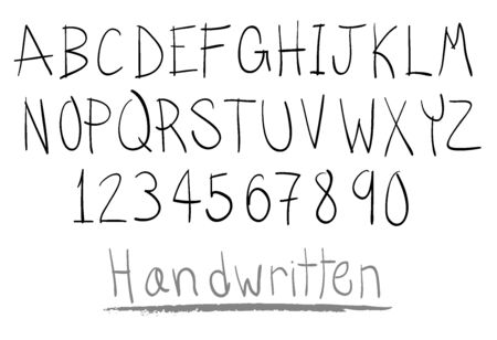 written text: hand written alphabet in capital Illustration