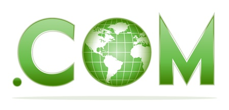 dot com: globe with dot com in green colors Illustration